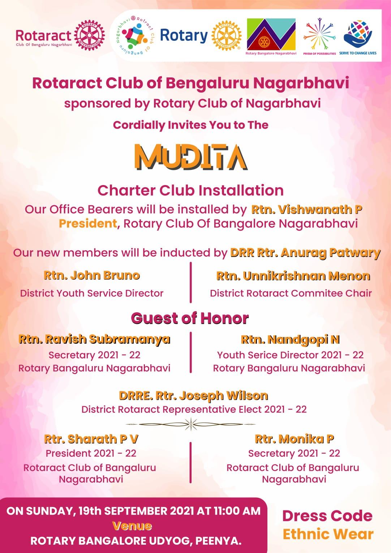 Rotaract Club Of Bengaluru Nagarbhavi Charter Installation