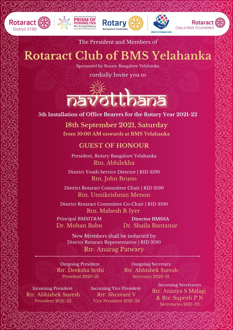 Rotaract Club of BMS Yelahanka Installation